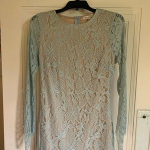 Gorgeous Nude Dress with Blue Lace Overlay